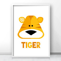 Tiger Kids Wall Art Print, Printable Kids Art, Animal Nursery Print, Jungle Nursery Decor Art, Safari Animal Print, Printable Kids Gift