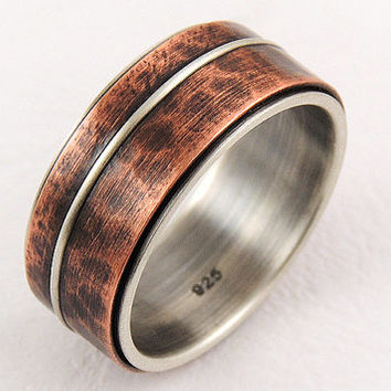 Mixed metal mens wedding ring - silver copper,anniversary ring,unique engagement ring,rustic ring,wedding band ring