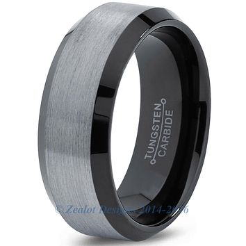 8mm Brushed Silver Tungsten Beveled Pipe Cut