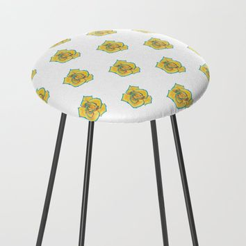 Yellow and Turquoise Rose Counter Stool by drawingsbylam