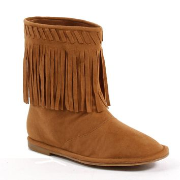 Flat Children's Moccasin Boot with Fringe (X-Large,Tan)