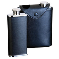 Visol Dos Black Leather 6oz Hip Flask (Two 3oz Flasks in Case)