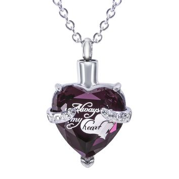 "Cremation Urn Necklace for Ashes - ""With Beautiful Gift Box"" Cremation Jewelry (Purple)"