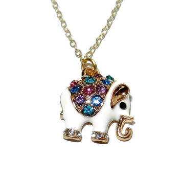 Elephant Charm Necklace, 16 Inch Charm Necklace