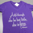 White Though She Be But Little She Is Fierce V-Neck Shirt. Crossfit Shirt. Womens Workout T-Shirt. Running Shirt. Workout Shirt. Gym Shirt