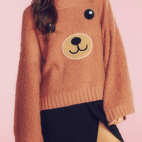 Orange Bear Pattern Long Sleeve Sweater