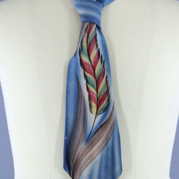 Vintage 1940s Mens Silk Tie / Vintage 40s Silk Necktie / Men's Neck Tie / Vintage Menswear / Regal Cravat / Hand Painted ART DECO Blue Leaf