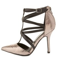 Pewter Strappy Metallic Pointed Toe Pumps by Charlotte Russe