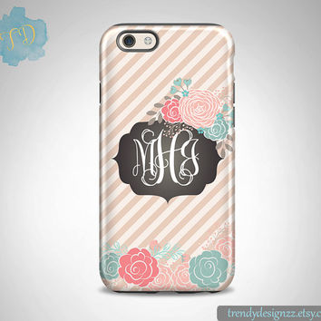 iPhone case, Monogram iPhone 6 case, Personazlied iPhone 5s 5C case 6 plus Samsung case S6 Edge S5 S4, Pink Tan Stripes Faux Chalkboard (41)