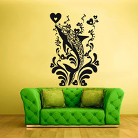 Wall Decal Mural Sticker Sea Ocean orca Dolphin Fish whale Animals Design Heart Flowers Tribal (z1868)