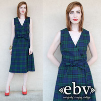 Vintage 80s Tartan Plaid Dress Jumper S M