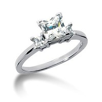 14K White Gold Princess Cut Diamond Promise Engagement Ring (0.75ct.tw, HI Color, SI2 Clarity)