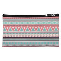 Colorful Aztec Pattern Sueded Medium Cosmetic Bag