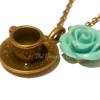 retro blue rose necklace tea cup coffee cup alice in wonderland mad hatter necklace English etsy uk