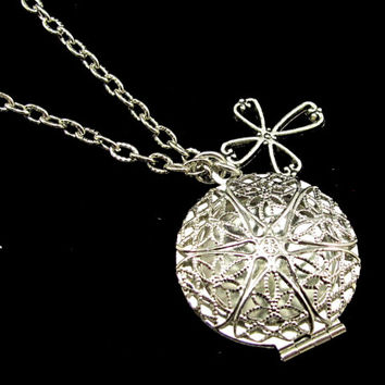Aromatherapy Necklace - Beautiful Filigree Locket and Cross in Silver