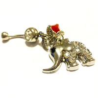 Elephant Belly Ring, Valentine Gift, Elephant Lover Gift, Red Crystal Belly Button Ring Made With Swarovski Crystal Element Beads