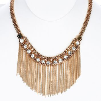 Clear Crystal Stones Chain Fringe Bib Necklace