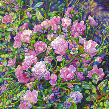 "Giclee print on canvas - Wild Roses - 8"" x 10""  - Signed/Editioned"
