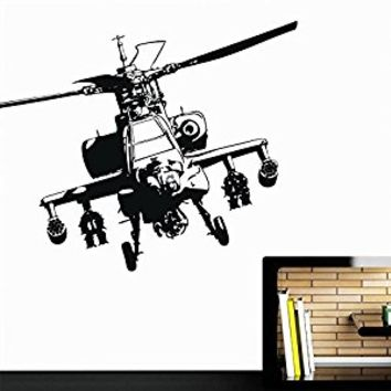 Wall Decal Vinyl Sticker Decals Art Decor Design Flying Military Helicopter Airlane Army Children Kids Nursery Bedroom Living Room (r477)