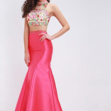 Two Piece Mermaid Evening Dresses Elegant High Neck Sleeveless Embroidery Prom Gowns Long Formal Dress