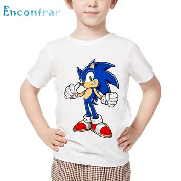 Children Cartoon Print Sonic The Hedgehog Funny T shirt Baby Boys Girls Summer Tops Kids Casual Clothes,HKP5136