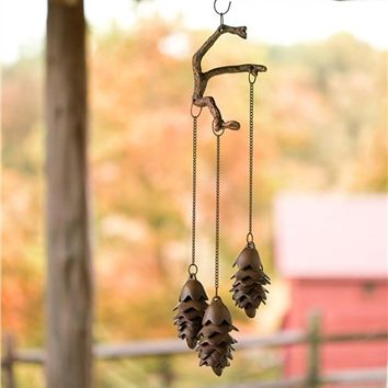 Triple Pine Cone Wind Chime in Cast Iron
