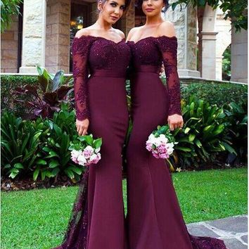 2016 Burgundy Lace Beach Party Mermaid Long Bridesmaid Dresses Arabic Off-shoulder Long Sleeve Wedding Party Dress