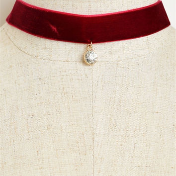 Velvet Center Stone Choker - Maroon or Black