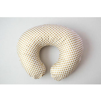 Boppy cover, Gold Polka Dot Boppy Cover, Nursing Pillow Cover