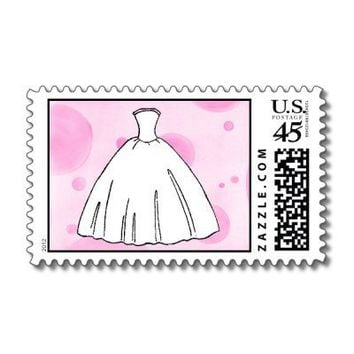 Whimsical Wedding Dress Stamp from Zazzle.com
