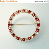 Vintage Sterling Silver Red Rhinestone Circle Brooch
