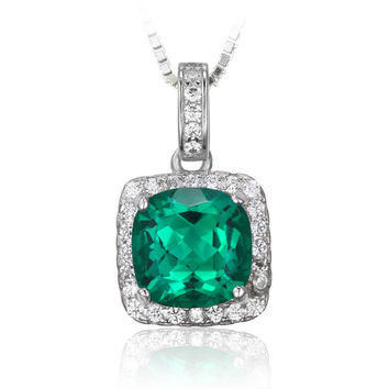 Silver Cushion Cut 3.3ct Created Emerald Halo Pendant Necklace