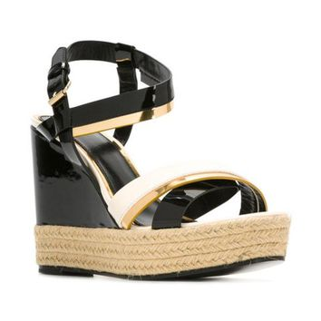 ONETOW Lanvin Patent Wedge Sandals - Farfetch