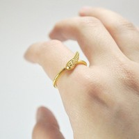 FREE SHIPPINGlittle wing ringsterling silver gold by nihanatakan