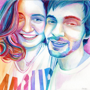 BOYFRIEND and GIRLFRIEND special GIFT - Custom watercolor portrait - From selfie photo - Proposal gift - engagement gift