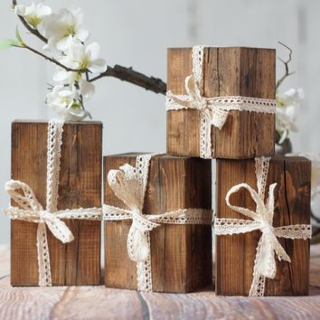 Set of 4, Wood Presents, Rustic Christmas decor
