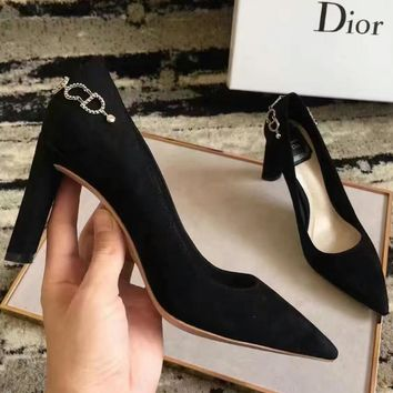 DIOR 2018 New Fashion CD Letter Chain Decoration Tasteful Fashion Thick Heels F-XNR-YFX