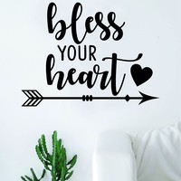 Bless Your Heart Arrow Quote Wall Decal Sticker Room Art Vinyl Home Decor Living Room Bedroom Inspirational Love Nursery