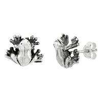 Sterling Silver Tiny Frog Stud Earrings, 7/16 inch tall