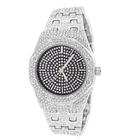 Stainless Steel Back Iced Out Black Face Presidential Look Watch