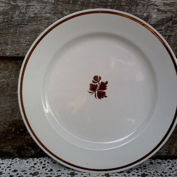 "Vintage Copper ""Tea Leaf"" Dinner Plate, 10"", Royal China Ironstone, Johnson Brothers, Lustreware Ironstone,  England, Kitchen Decor"