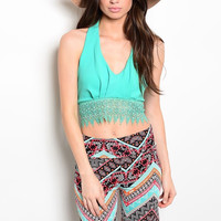 Crochet Scalloped Hem Halter Crop Top in Mint