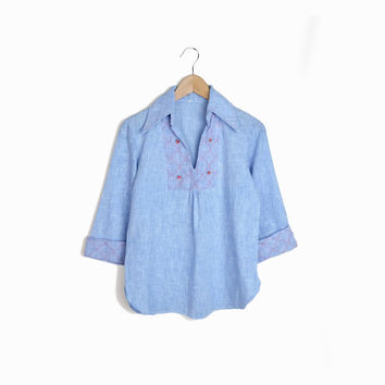 Vintage 70s Chambray Rosette Peasant Blouse - s