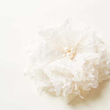 Lace Flower Hair Accessories, Fabric Flowers Hair Clips, Off White Lace Flower