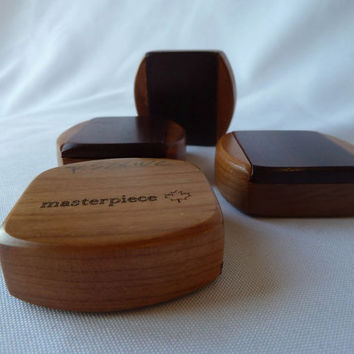 Solid Padauk/Cherry Wooden Pill Box (B126) SHIPPING INCLUDED