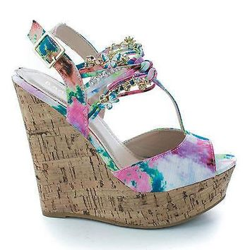 Eliza63 Fuchsia Fabric By Bamboo, Peep Toe T-Strap Beaded Charm Sling back Platform Wedge Sandals
