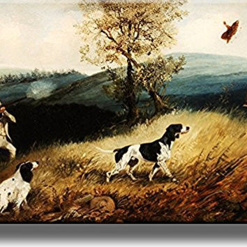 Hunting with Dogs Picture on Stretched Canvas, Wall Art Decor, Ready to Hang!