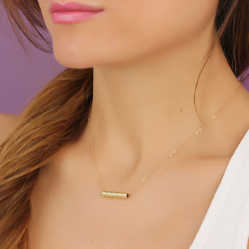 "Gold bar necklace, simple bar necklace, 14k gold filled necklace, bridesmaid necklace, minimalist bar necklace, tiny bar necklace, ""Eidothea"