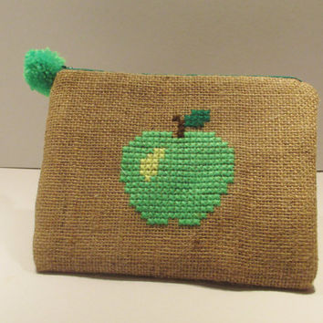 Green apple  burlap pouch bag, cross stitch embroidery ,accessories pouch, handmade pouch, travel accessory