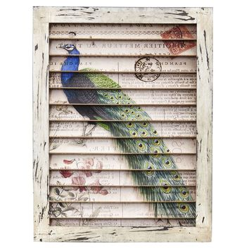 17 Inch Peacock Window Shutter Vintage Wall Decor